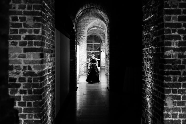 bride framed in an archway