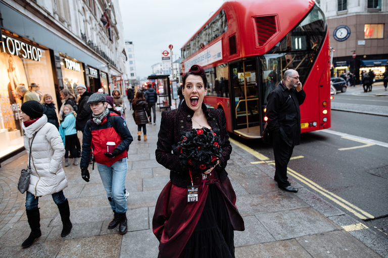 excited bride on the streets of London