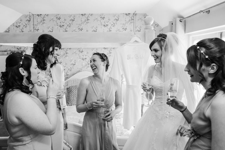 smiles and laughs on the wedding morning