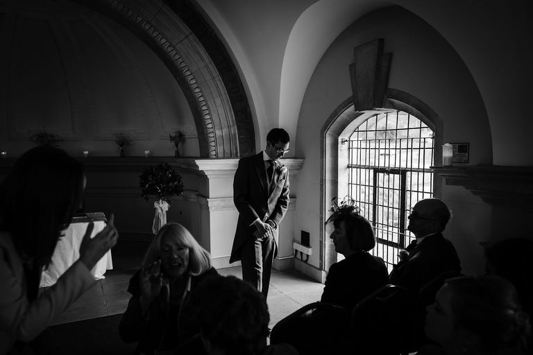 nervous groom waiting at the altar normanton church