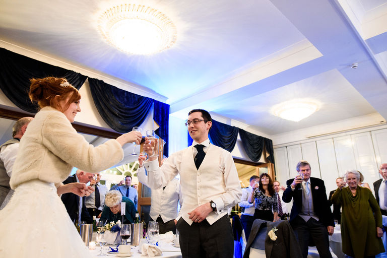 bride and groom toast