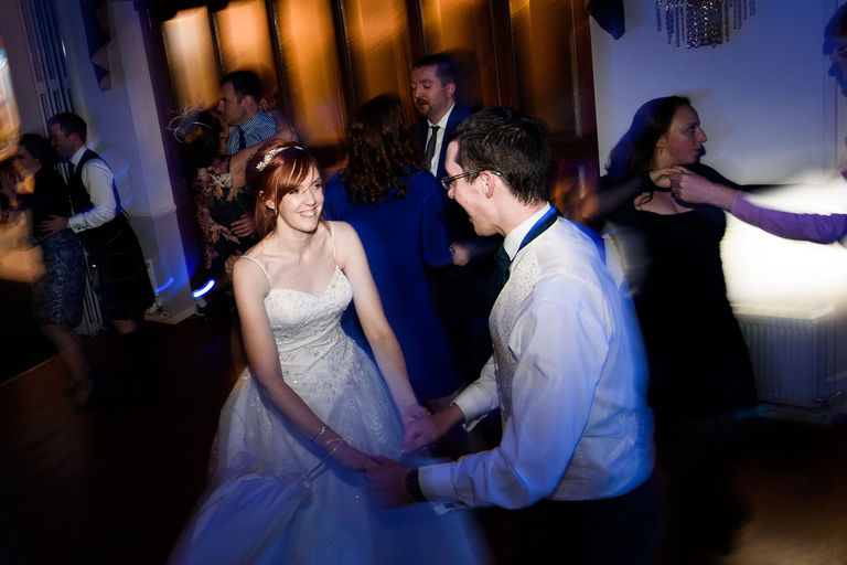 bride and groom partying on the dancefloor