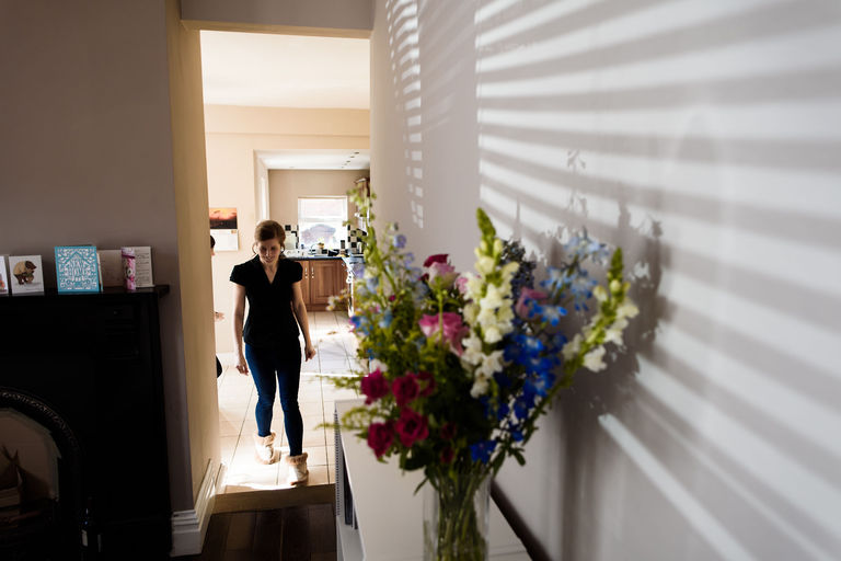 bride at home on wedding morning