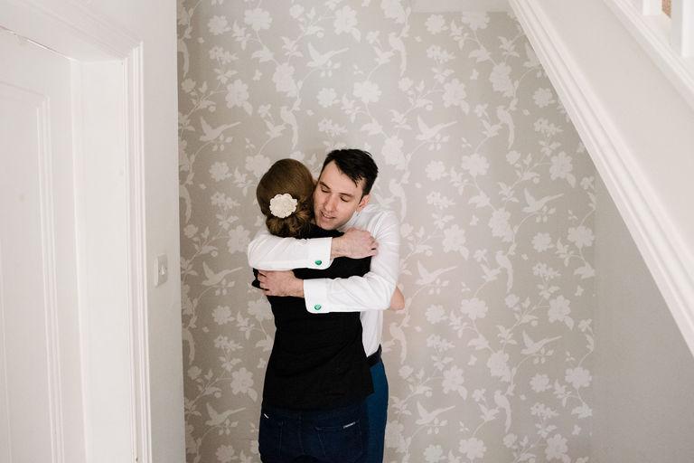 bride and groom morning hug