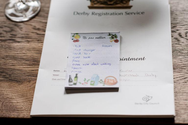 wedding morning list