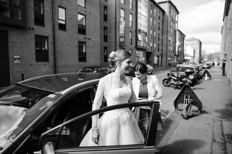 bride arriving at inner city venue