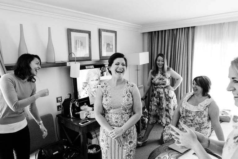 bridesmaid hotel room laughter