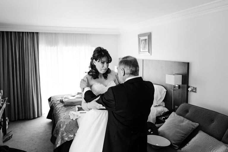 emotional moment between bride and her father