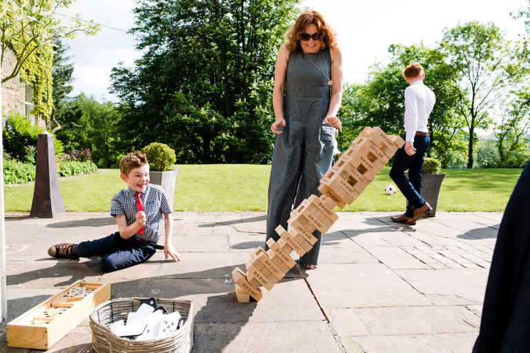 giant jenga tower falls over