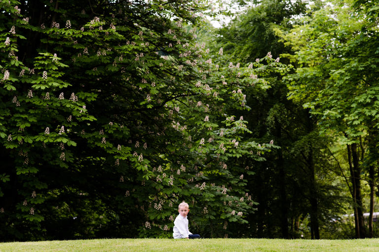 boy playing in the grounds of blackbrook house
