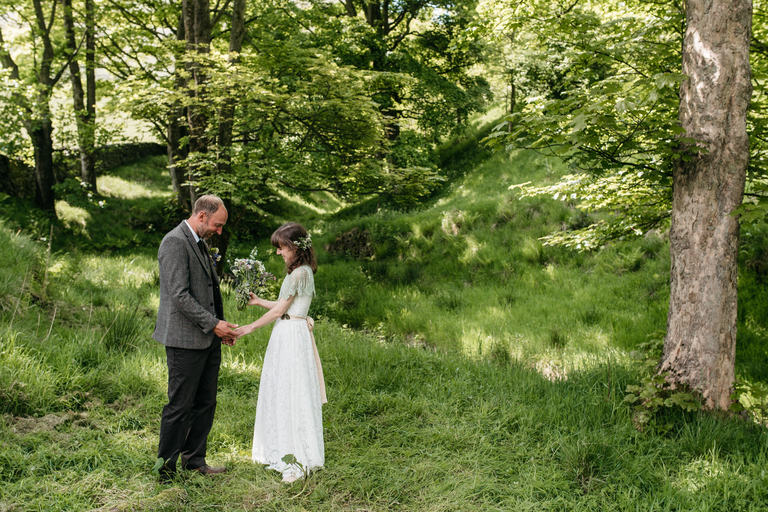 couple having a quiet moment in the woodland
