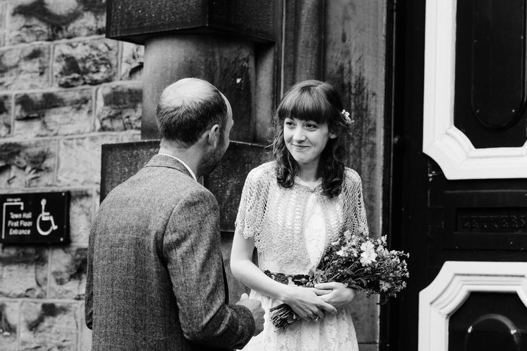 couple about to enter registry office