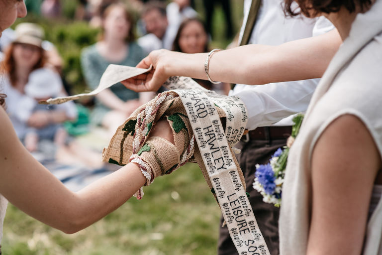outdoors handfasting rustic wedding