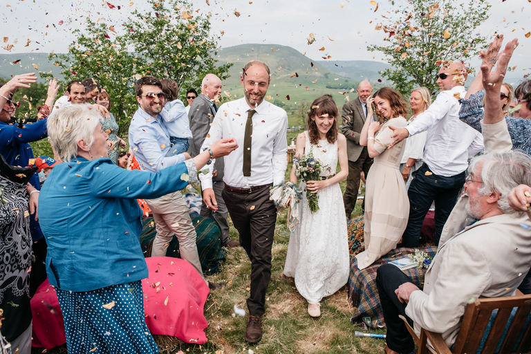 confetti at outdoors wedding