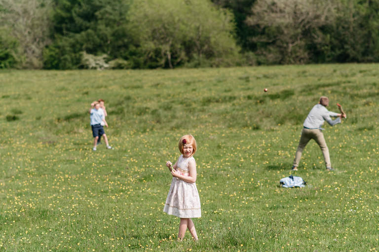 kids playing outdoors at a wedding