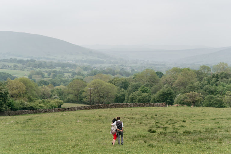 couple taking a walk in the countryside