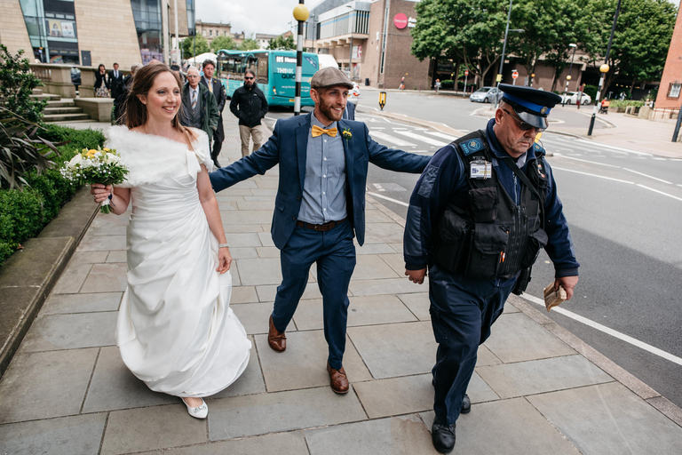 bride and groom leaving derby council house