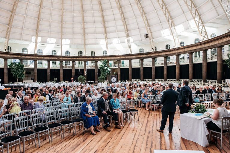 groom waiting in the devonshire dome wedding venue