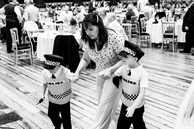 kids dressed as policeman dragged off by mum