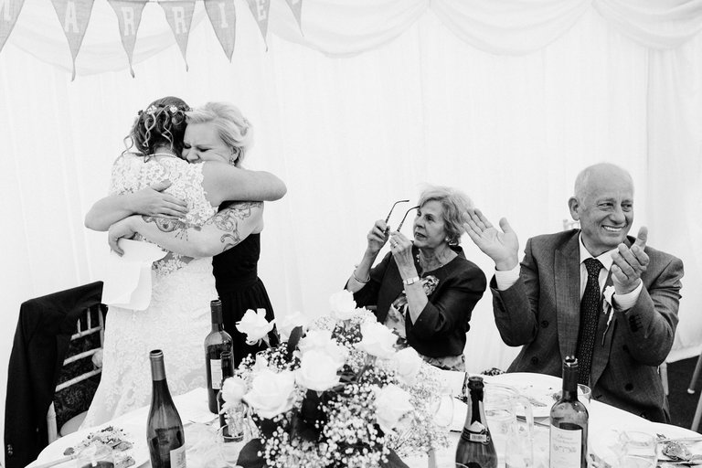 emotional moment after bridesmaid's speech