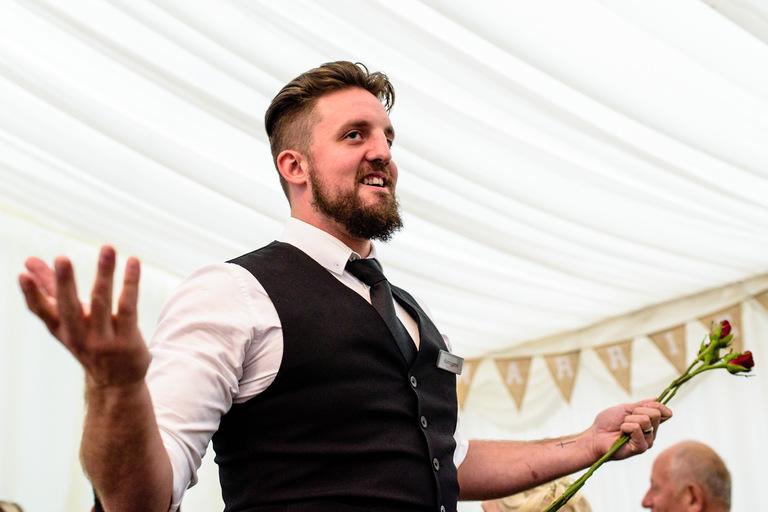 singing waiters surprise