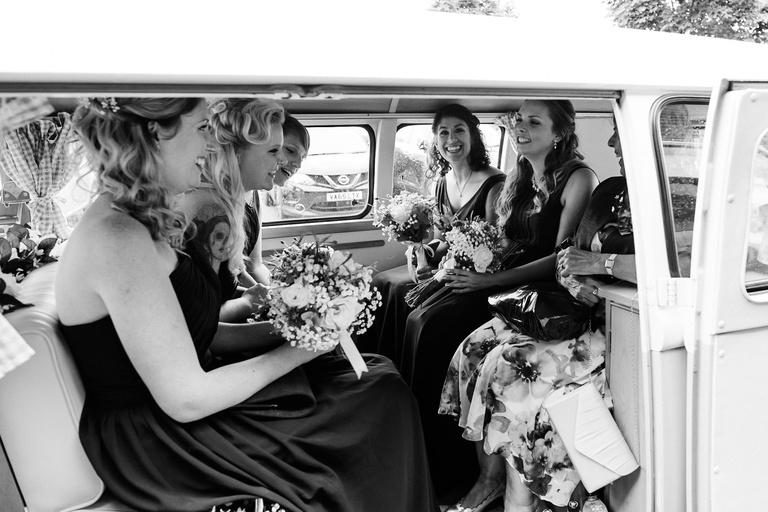 bridesmaids in a camper van