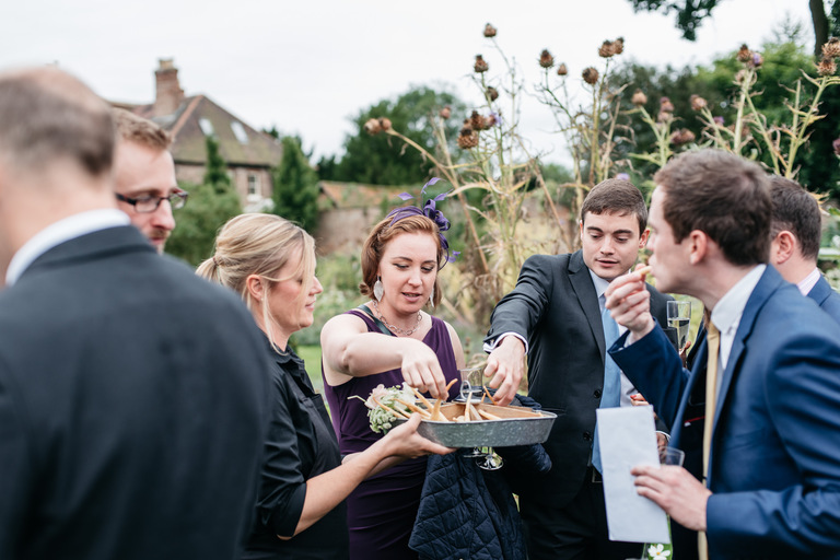 guests all dive in to the canapes
