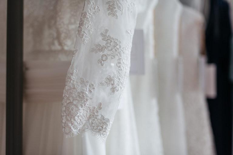 close up of wedding dress lace sleeve