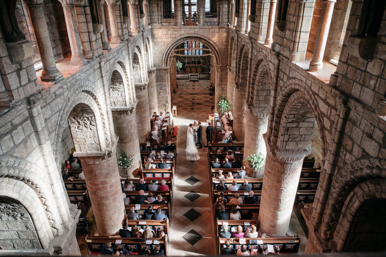 Wide angle shot of the interior of Melbourne church during the ceremony