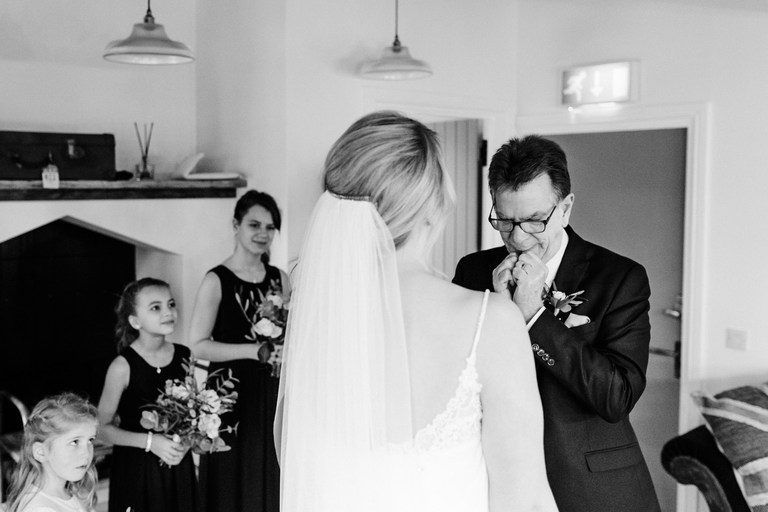 bride's father is emotional seeing her in her dress