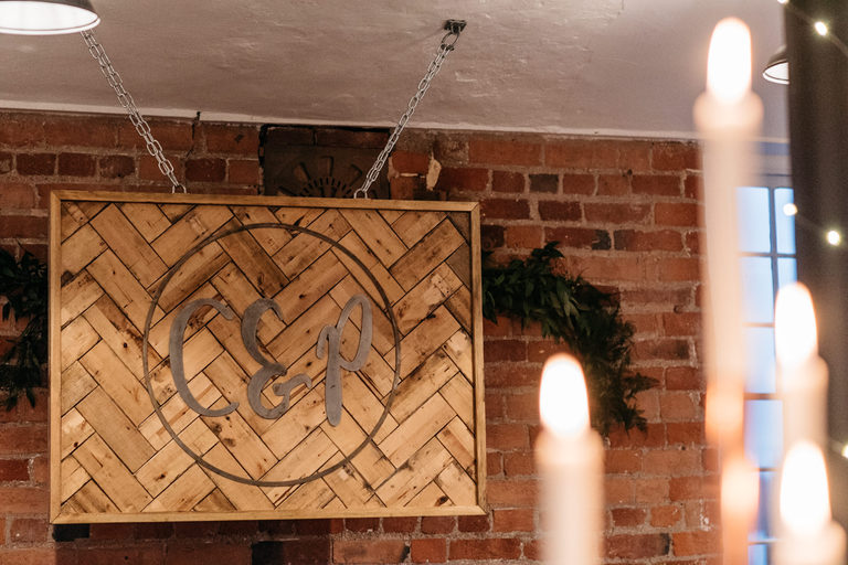 hand made wooden initial sign