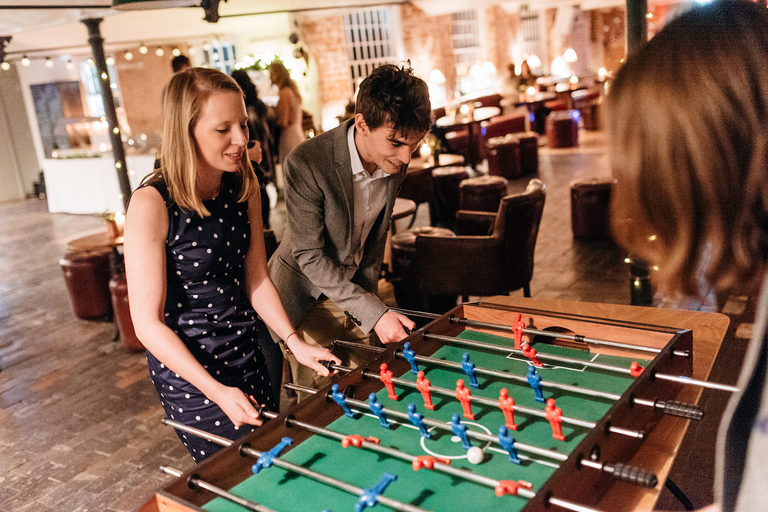 guests playing table football