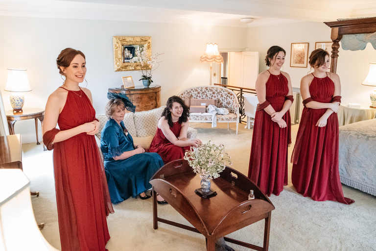 mother and bridesmaids