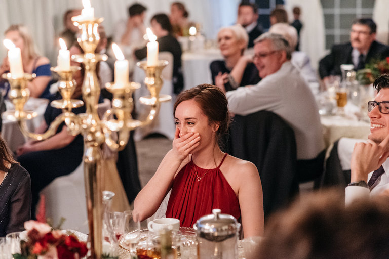 emotional bridesmaid during speeches