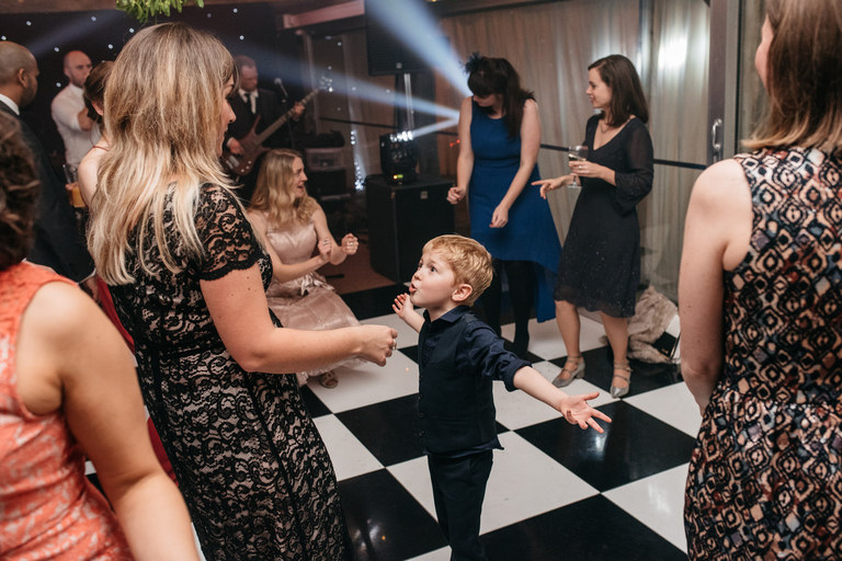 little boy argues with his mum on the dancefloor