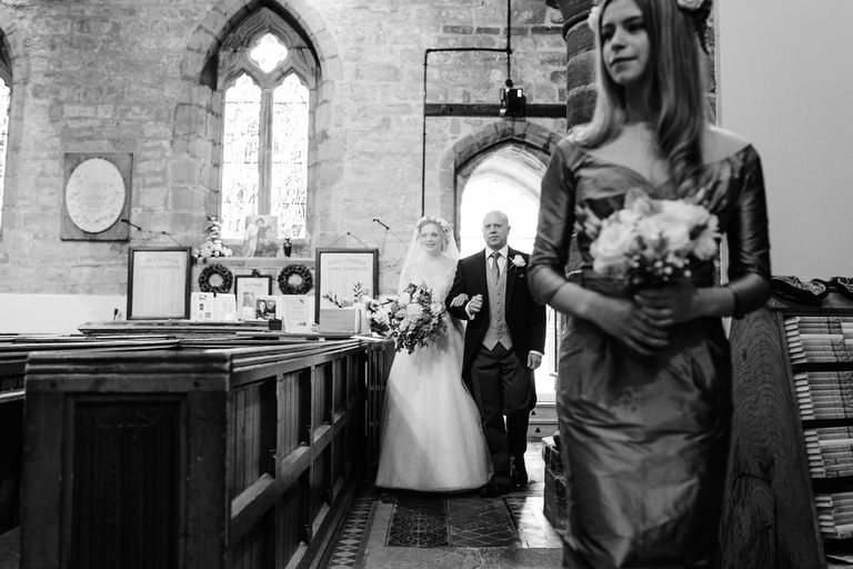 bride arrives in church