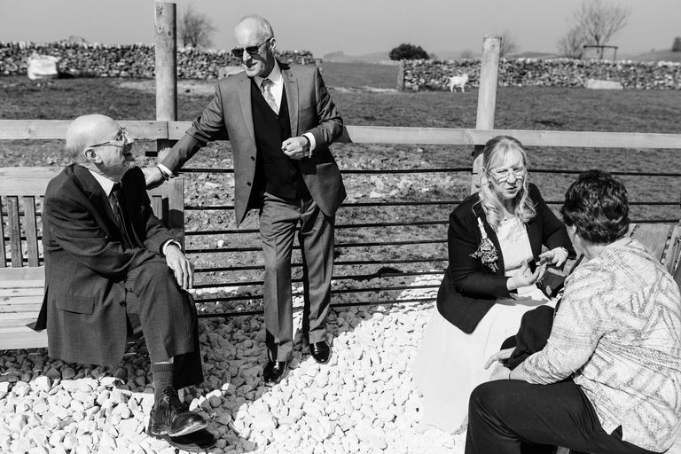 guests chatting at damgate farm