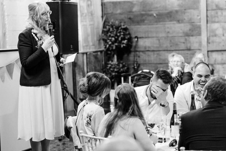 mother of groom giving a speech