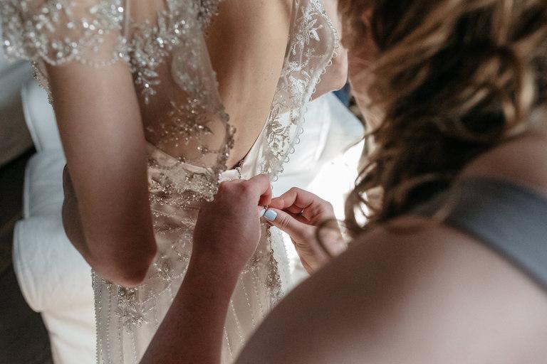 close up of the wedding dress