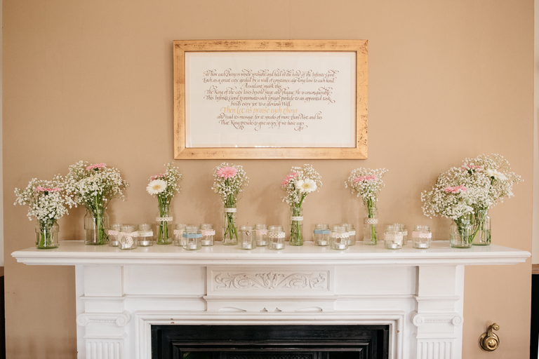 Flowers on the mantelpiece