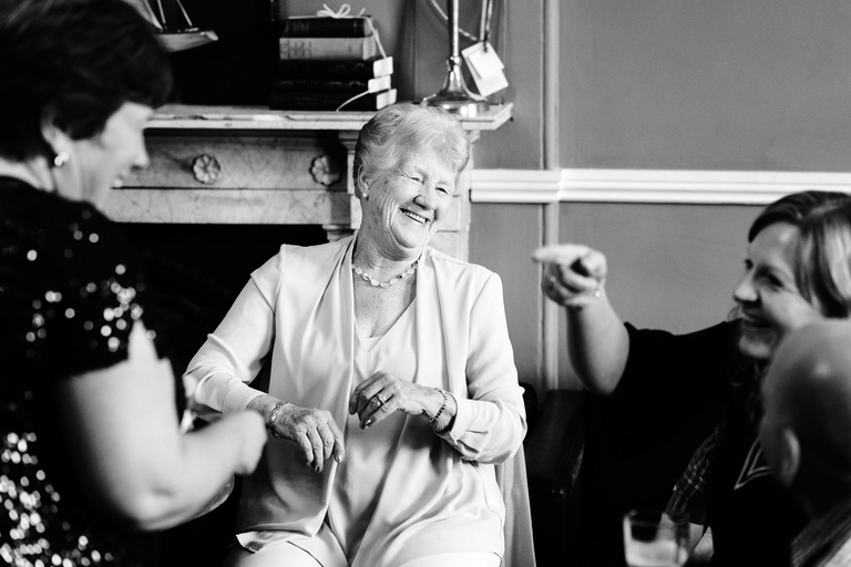 bride's grandma laughing