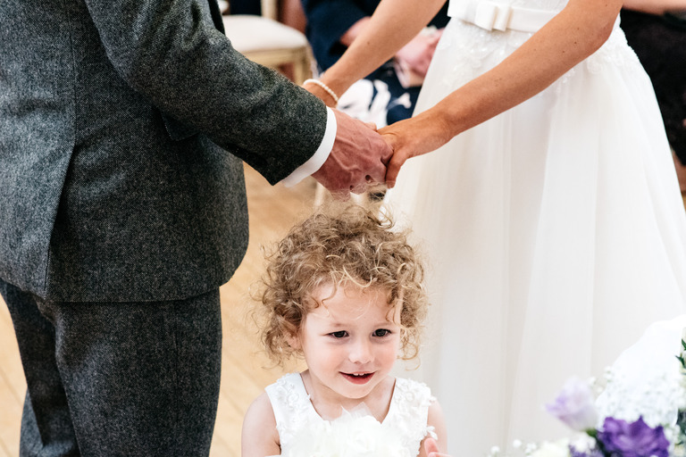 little daughter during the wedding