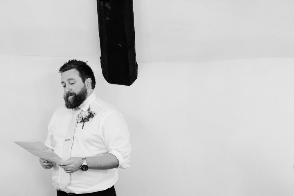 best man alone giving his speech