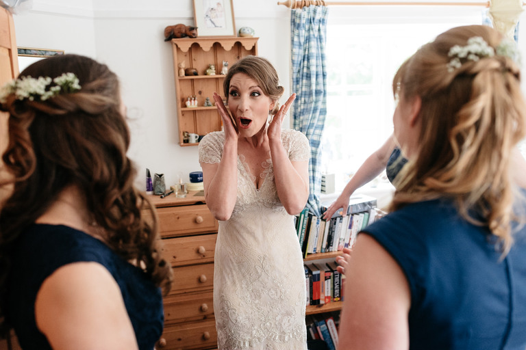 excited bride before wedding