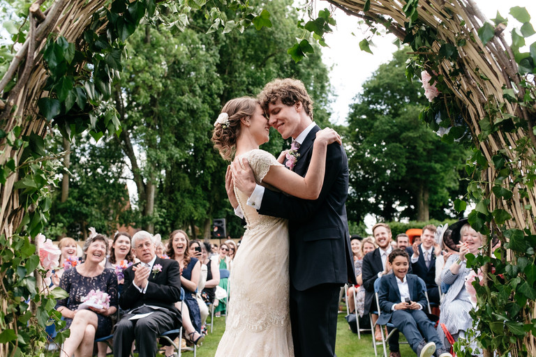 just married in a hampshire garden ceremony
