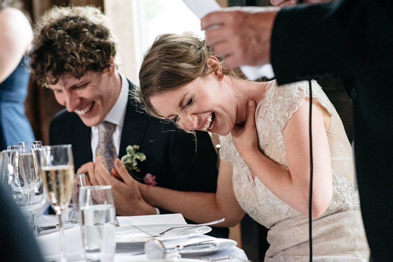 close up image of bride and groom laughing