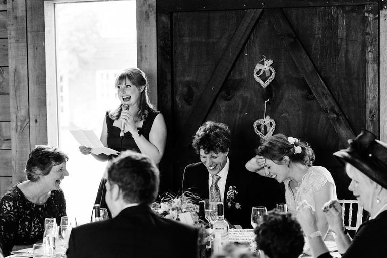 maid of honour gives a speech