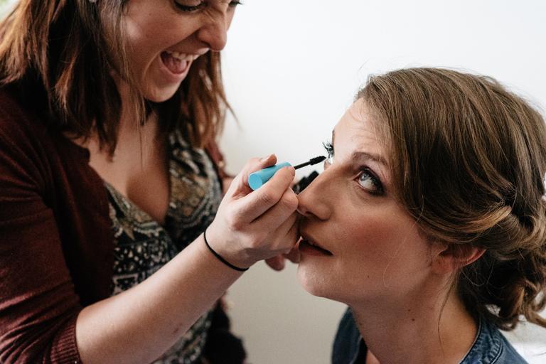 laughing make-up artist