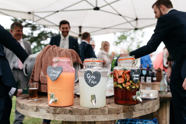 garden party drinks in glass jars