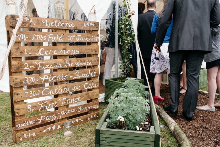 wedding day timings on a wooden crate